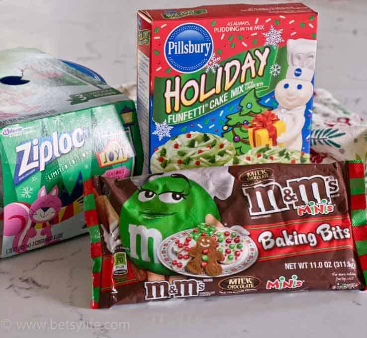 packaging of ziploc pillsbury holiday funfetti cake mix and m&ms