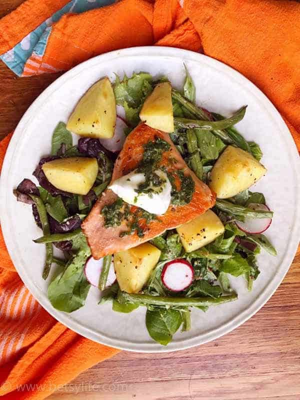 Roasted Salmon with New Potatoes and Green Beans