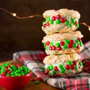 Holiday Funfetti Cake Batter Cookie Ice Cream Sandwiches