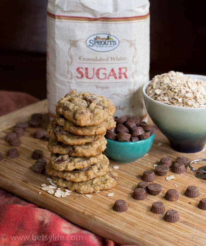 Salted Peanut Butter Cup Oatmeal Cookies