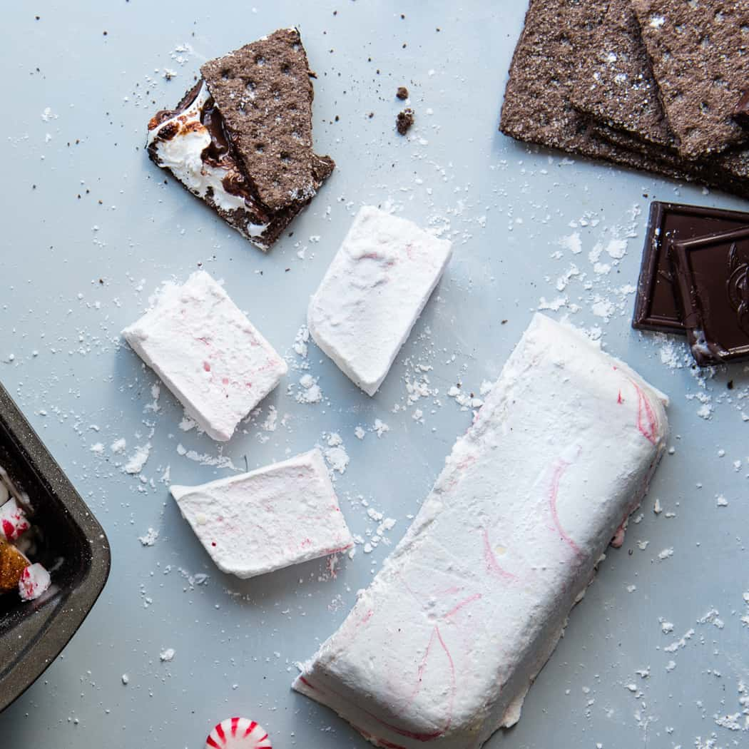 Chocolate s'mores next to homemade peppermint marshmallows