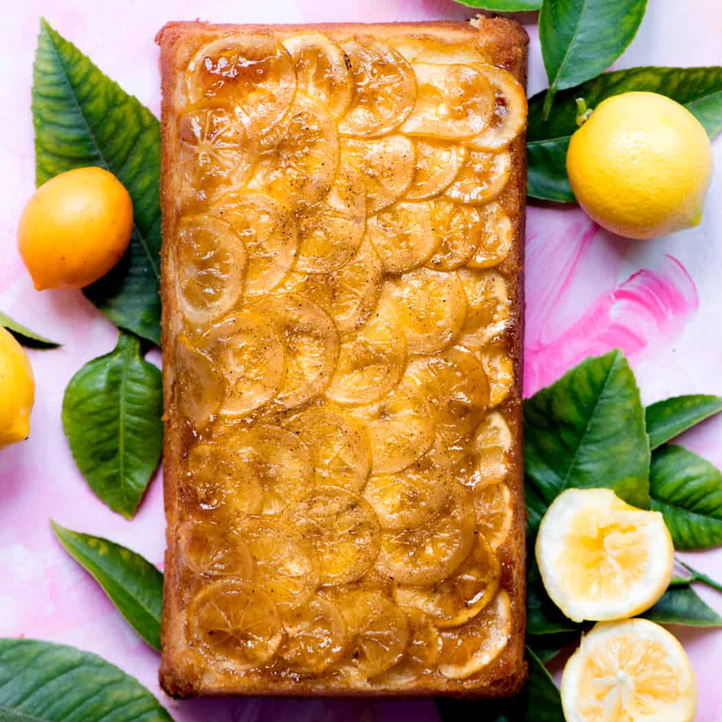 Lemon 7up cake with lemons and leaves
