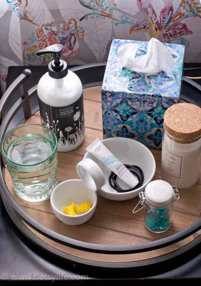 Use a Serving Tray to Keep your Nightstand Organized