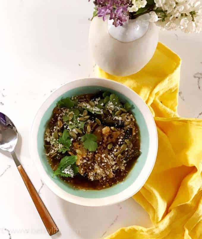 Spicy green chile pozole with quinoa