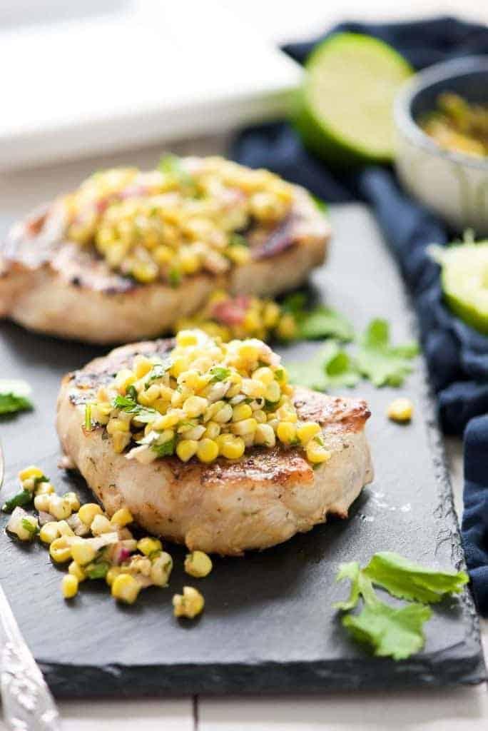 Ranch Pork Chops with Grilled Jalpeño Corn Salsa