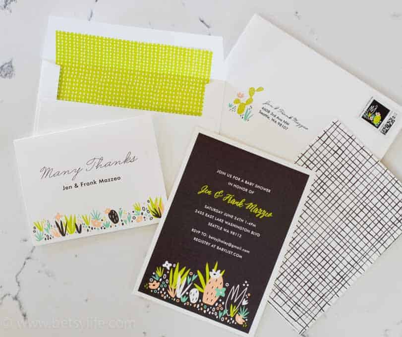 Cactus Themed Baby Shower Invitations