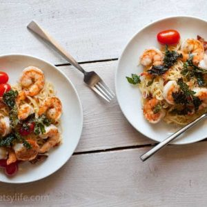 Shrimp and Bacon Pasta with Crispy Kale