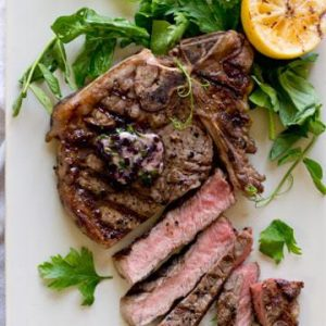 Grilled T-Bone with Red Wine Compound Butter