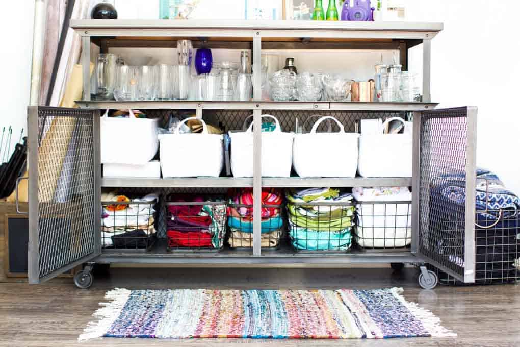 Use a Bar Cart for Storage