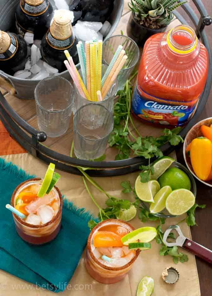 Overhead view of a bar with chipotle michelada ingredients