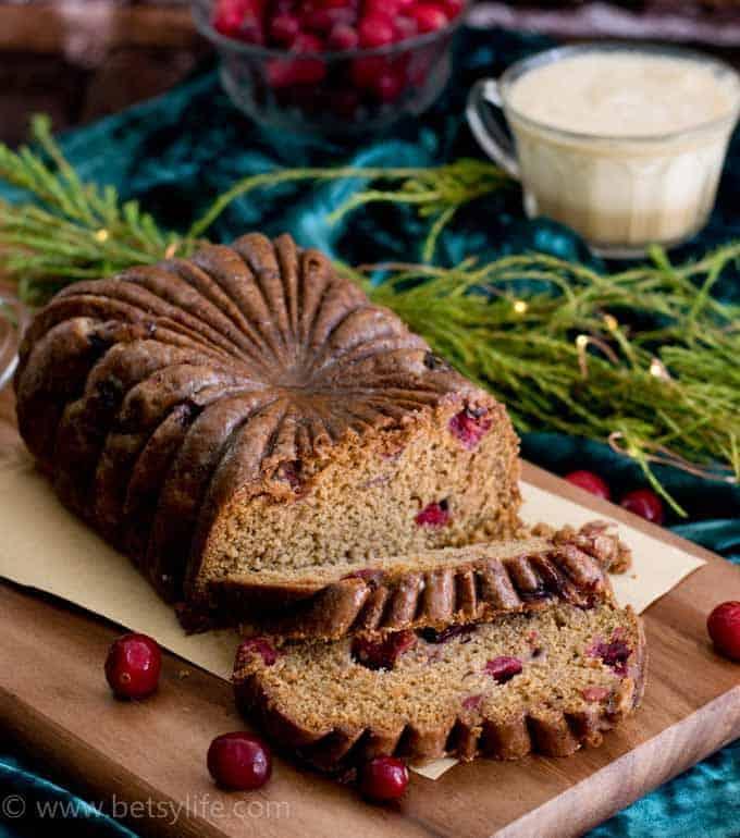 Cranberry Eggnog Loaf Cake