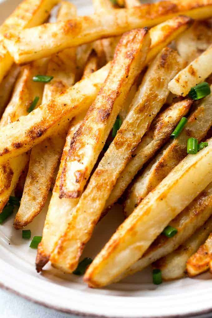 Paleo, Whole 30 Baked French Fries with Chipotle Ranch Dip