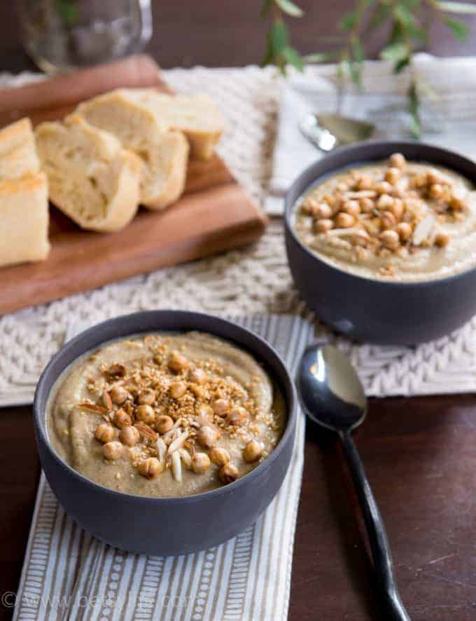 Creamy Cauliflower and Lentil Soup with Spiced Toasted Nuts