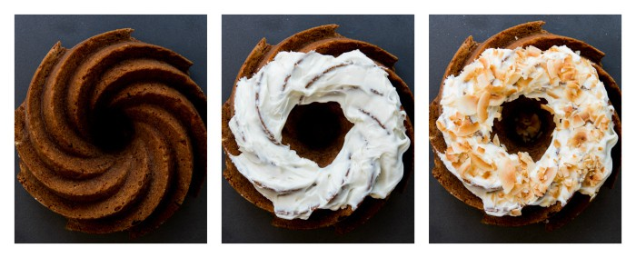 Triptych of the same carrot bundt cake on a dark background. The far left is just the cake. The middle is the cake topped with cream cheese frosting. The right has toasted coconut flakes sprinkled on the frosting.