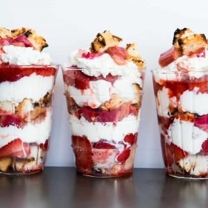 Rhubarb Strawberry Parfaits. Grill Packet Desserts!