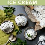 fresh mint chip ice cream in 3 bowls on a dark background