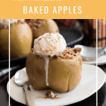Baked apple stuffed with oatmeal topped with melting ice cream on a white plate with a spoon
