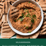 bowl of muhammara roasted red pepper and walnut dip on a platter of grilled pita bread cut into triangles