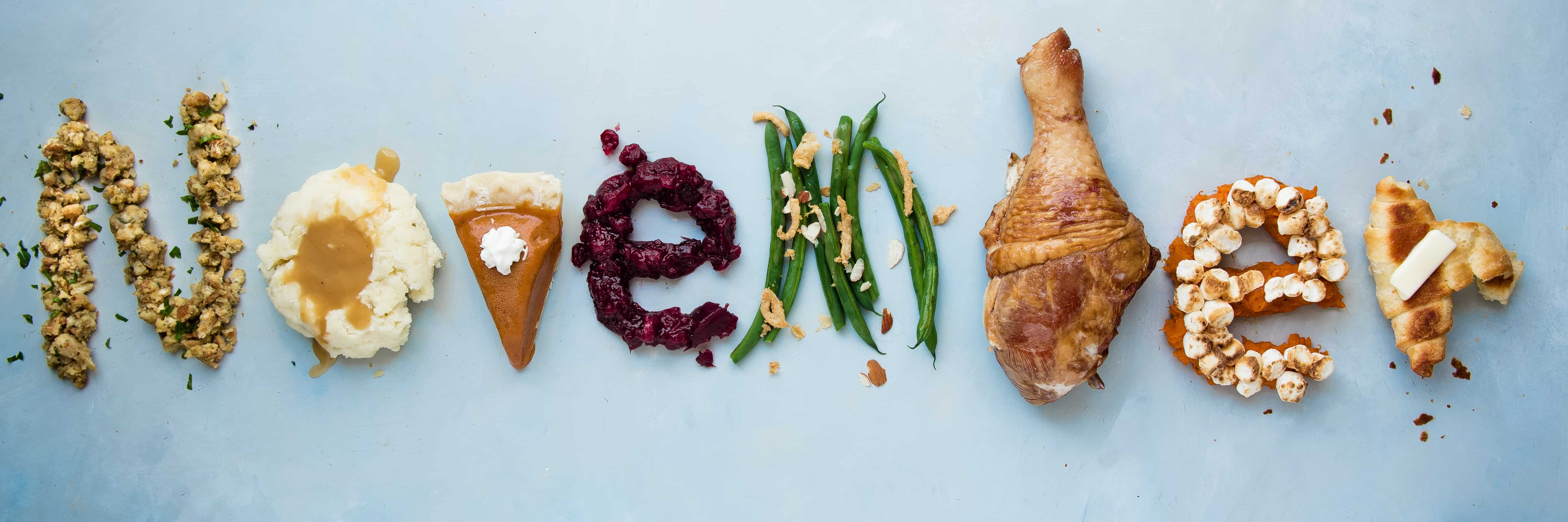 The word November spelled out of Thanksgiving foods
